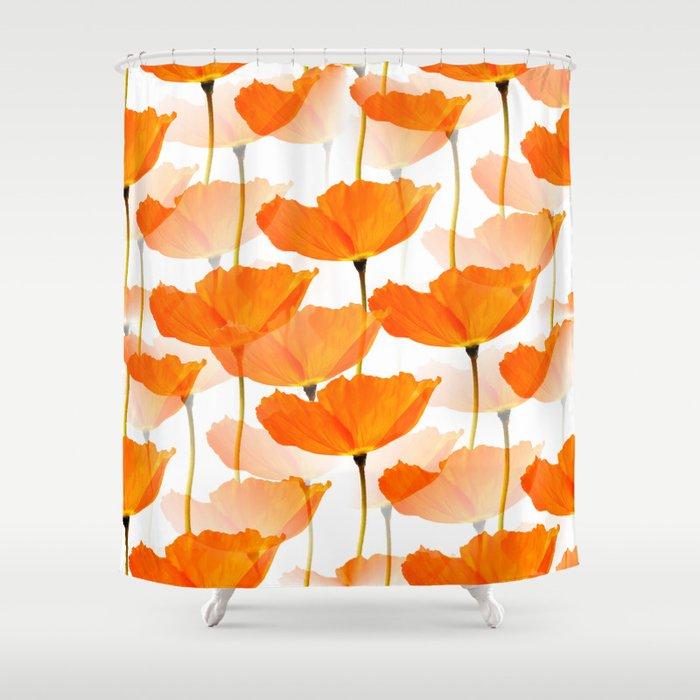 Orange Poppies On A White Background Decor Society6 Art Shower Curtain