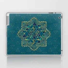 Sri Yantra  / Sri Chakra Gold, Marble and Teal Laptop & iPad Skin