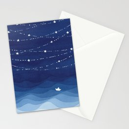 night sky, ocean painting Stationery Cards