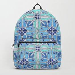 Indian Lotus Flowers Tile in Blue Backpack