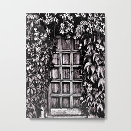 Black White Old Door Metal Print