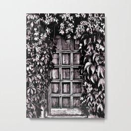 Black White Old Door Metal Print