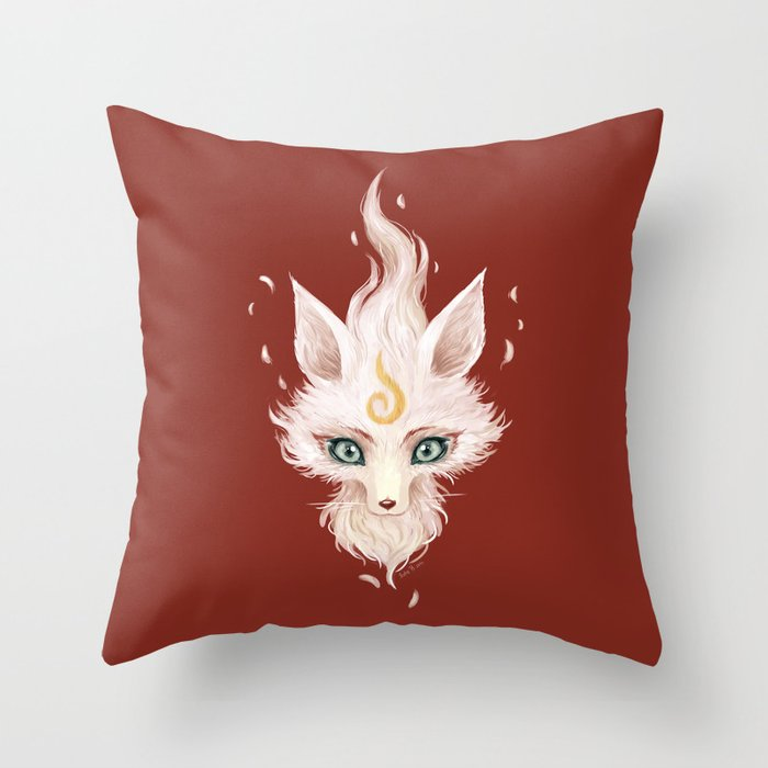 White Fox Throw Pillow