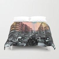 hong kong Duvet Covers featuring Hong Kong Streets by jennymadeleine