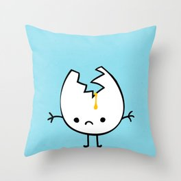 Mr Egg is now sad Throw Pillow