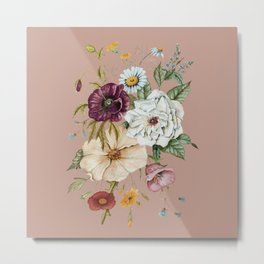 Colorful Wildflower Bouquet on Pink Metal Print