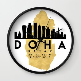 DOHA QATAR SILHOUETTE SKYLINE MAP ART Wall Clock