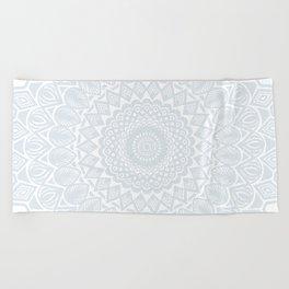 Minimal Minimalistic Light Cool Gray Mandala Beach Towel