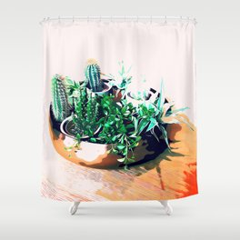 Cacti in a Copper Pot #society6 #decor #buyart Shower Curtain