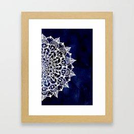 White Lace Medallion on Ink Blue Framed Art Print