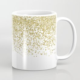 Sparkling gold glitter confetti on simple white background - Pattern Coffee Mug