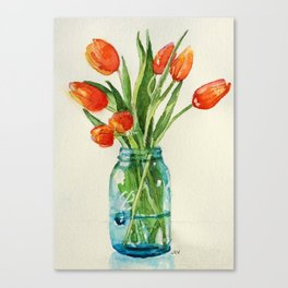 Watercolor Tulips in Teal Ball Jar Canvas Print