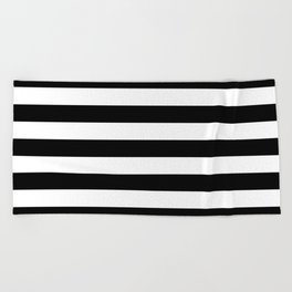 Large Black and White Horizontal Cabana Stripe Beach Towel