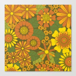 Orange, Brown, Yellow and Green Retro Daisy Pattern Canvas Print