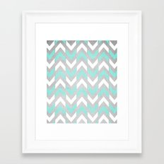 Teal & White Herringbone Chevron on Silver Wood Framed Art Print