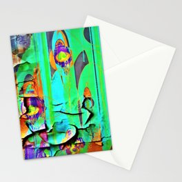 DECORATIVE GREEN SHABBY CHIC PEELING WALLPAPER DESIGN Stationery Cards