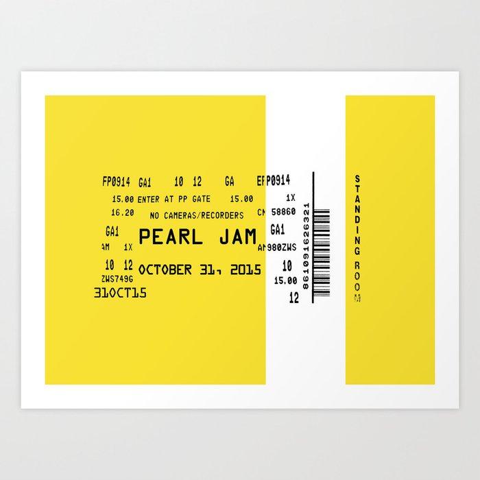 concert ticket 90 s grunge art print by hhprint society6
