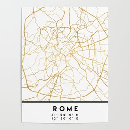ROME ITALY CITY STREET MAP ART Poster