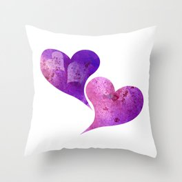 Purple and Pink hearts Throw Pillow