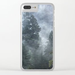 Smoky Redwood Forest Foggy Woods - Nature Photography Clear iPhone Case