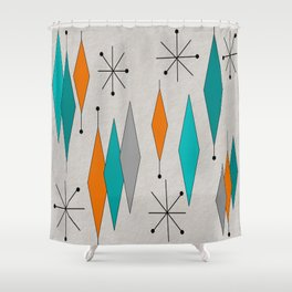 Mid-Century Modern Diamond Pattern Shower Curtain