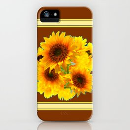 CHOCOLATE BROWN YELLOW SUNFLOWER BOUQUETS iPhone Case