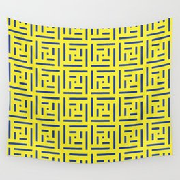 Human History (Lemon and Blue) Wall Tapestry