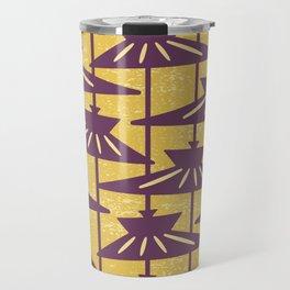 Mid Century Modern Pendant Lamp Composition Yellow and Plum Travel Mug