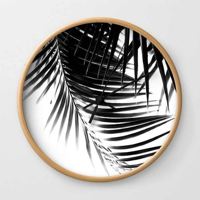 Palm Leaves Black & White Vibes #1 #tropical #decor #art #society6 Wall Clock