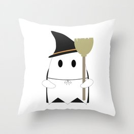 Ghost in Witch Costume Throw Pillow