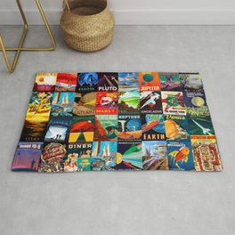 Mosaic - retro space travel Rug