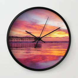 Pink, Blue & Orange Sunset with Low Tide Ocean Water Reflection Wall Clock