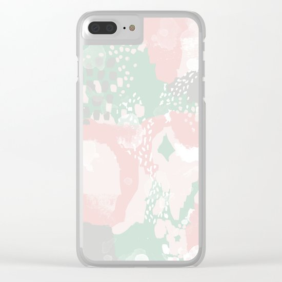 Alexei - abstract minimal modern painting splash dots stripes painterly art Clear iPhone Case
