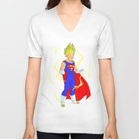 vegeta V-neck T-shirts featuring SUPER VEGETA by Javier Guijarro