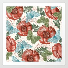 Poppies and Butterflies Pattern Art Print