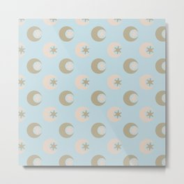 Moon + Star Pattern Metal Print