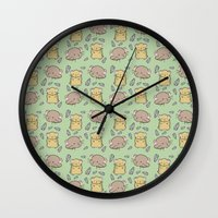 hamster Wall Clocks featuring Hamster Pattern by Noreen Torelli