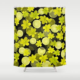Lime and flowers on black Shower Curtain