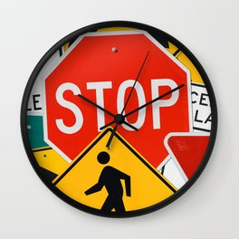 Road Traffic Sign Collage Wall Clock