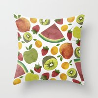 fruits Throw Pillows featuring fruits by Ana Rey