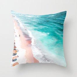 Aerial Beach Print, Aerial Photography, Beach Print, Blue Ocean Print, Seaside Beach Print, Ocean Waves Print, Beach Art, Home Decor Art Print Throw Pillow