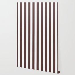 Dark Brown Granite and White Wide Vertical Cabana Tent Stripe Wallpaper