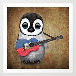 Baby Penguin Playing Haitian Flag Acoustic Guitar Art Print