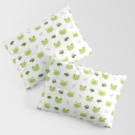 Frogs, Dragonflies and Lilypads on White Pillow Sham