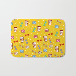 Coffee cup hipster pattern, yellow polka dot cool sunglasses pattern Bath Mat