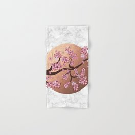 Blooming Sakura Branch on marble Hand & Bath Towel