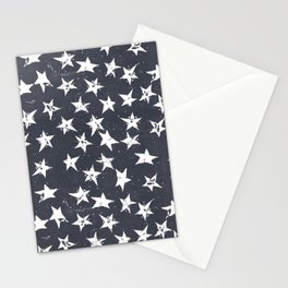 Linocut Stars - Navy & White Stationery Cards