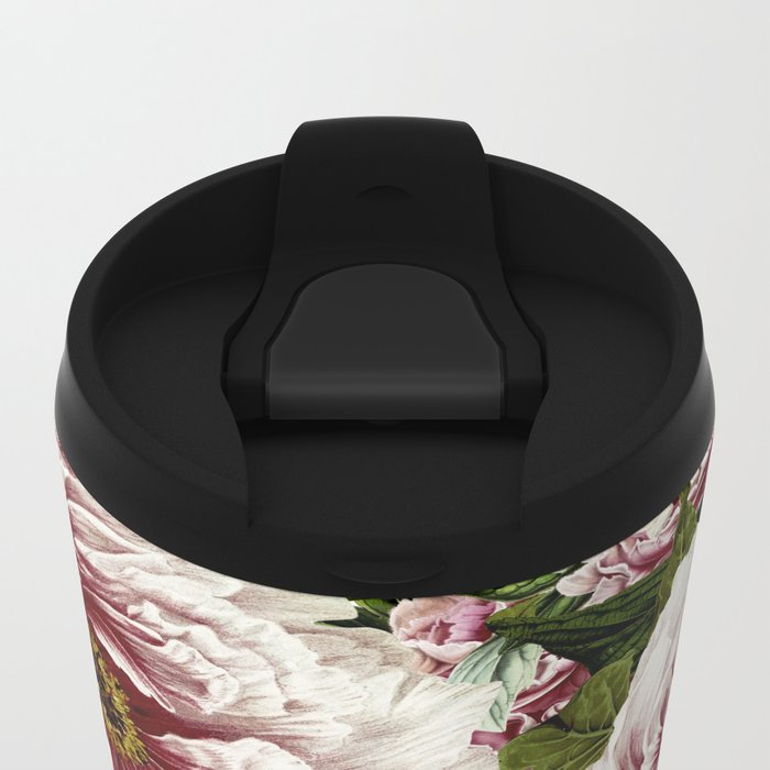 Vintage Peony and Ipomea Pattern - Smelling Dreams on #Society6 Metal Travel Mug
