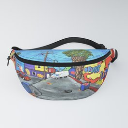 Los Angeles Alley by Mike Kraus- LA art street graffiti socal california houses homes colorful decor Fanny Pack
