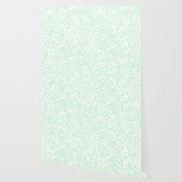 Small Spots - White and Pastel Green Wallpaper